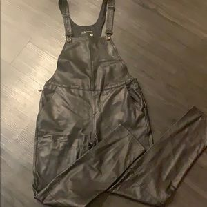 Black leather overall / brand new / never worn!